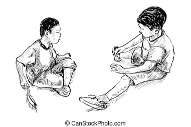 sketch of two small friends playing toys in sand at playground park isolated, illustration vector