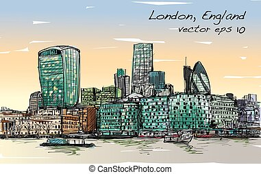 Sketch city scape in London England show skyline and...