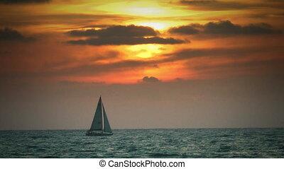 boat at sunset - Shot of boat at sunset