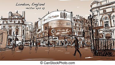 cityscape drawing sketch in London England, show walk street at corner LED light board in Sepia tone, illustration vector