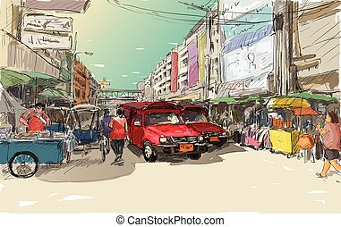 Sketch cityscape of Chiangmai, Thailand, show red car local...