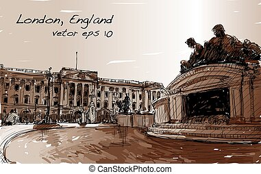 sketch cityscape of London England, show public space, monuments fountain and old building in Sepia tone, illustration vector