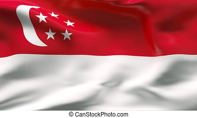 Creased SINGAPORE flag in wind - HIGHLY DETAILED FLAG WITH...