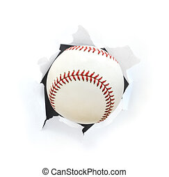 Baseball Bursting Though a Hole Isolated on White