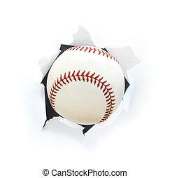 Baseball Bursting Though a Hole Isolated on White