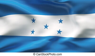Creased HONDURAS flag in wind - HIGHLY DETAILED FLAG WITH...