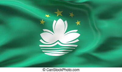 Creased MACAU flag in wind - HIGHLY DETAILED FLAG WITH...