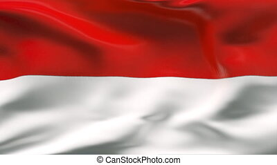 Creased INDONESIA flag in wind - HIGHLY DETAILED FLAG WITH...