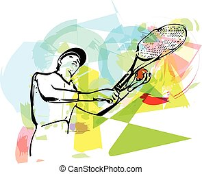 Sketch of one man tennis player at service serving silhouette