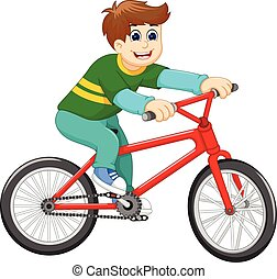 funny boy cartoon riding bicycle - vector illustration of...