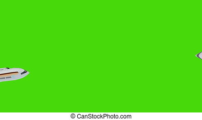Animated airplanes crossing green screen - Shot of Animated...
