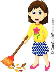 funny mother cartoon sweeping - vector illustration of funny...