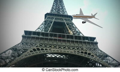 Animated Airplane Flying Behind Eiffel Tower - Shot of...