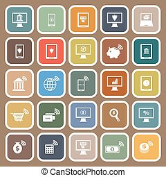 Online banking flat icons on brown background, stock vetor