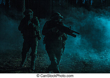 Black silhouettes of soldiers - Pair of soldiers in the...