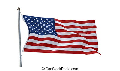Creased USA flag in wind - Highly detailed flag with...