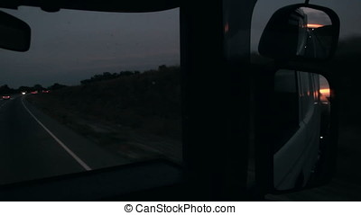 truck in the mirror evening beautiful