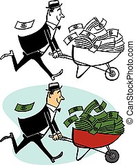 Wheelbarrow of Money - A man pushes a wheelbarrow of cash