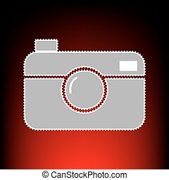 Digital photo camera sign. Postage stamp or old photo style...
