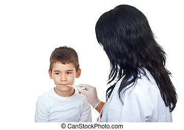 Doctor woman checking temperature to a child