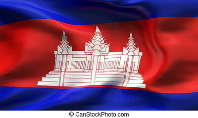 Creased CAMBODIA flag in wind - Highly detailed flag with...