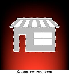 Store sign illustration. Postage stamp or old photo style on red-black gradient background.