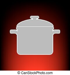 Cooking pan sign. Postage stamp or old photo style on red-black gradient background.