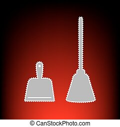 Dustpan vector sign. Scoop for cleaning garbage housework dustpan equipment. Postage stamp or old photo style on red-black gradient background.