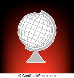 Earth Globe sign. Postage stamp or old photo style on red-black gradient background.
