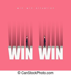 Minimalist stile. vector business finance concept . win win  situation ideas - cooperation.