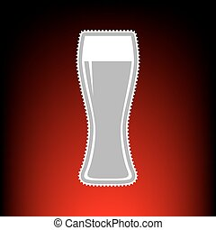 Beer glass sign. Postage stamp or old photo style on red-black gradient background.