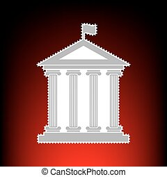 Historical building with flag. Postage stamp or old photo style on red-black gradient background.