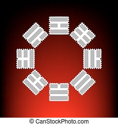 Bagua sign. Postage stamp or old photo style on red-black...