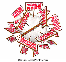 Word of Mouth Buzz Signs Passing Along Information 3d Illustration