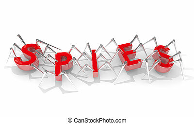 Spies Secret Information Collection Gathering Spying Spiders 3d Illustration