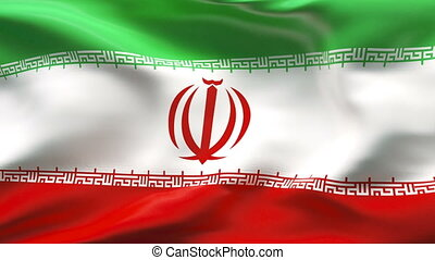 Creased IRAN flag in wind - Highly detailed flag with...