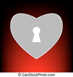 Heart woth lock sign. Postage stamp or old photo style on red-black gradient background.