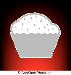 Cupcake sign. Postage stamp or old photo style on red-black gradient background.