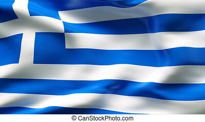 Creased GREECE flag in wind - Highly detailed flag with...