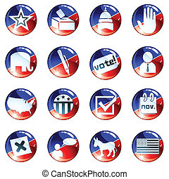 Set of red and blue election icons - Set of glossy round...