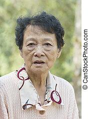 Asian elderly woman - Portrait of Asian elderly woman at...