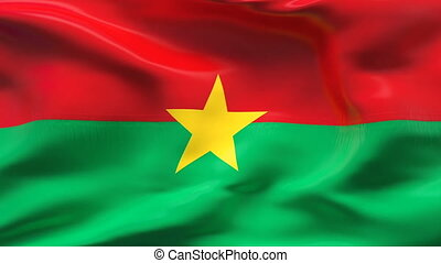 Creased BURKINA FASO flag in wind - Highly detailed flag...