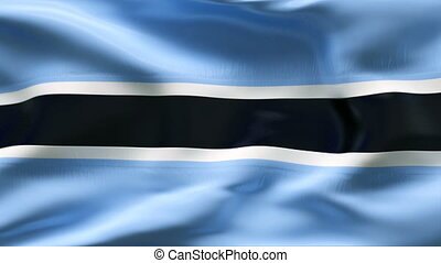 Creased BOTSWANA flag in wind