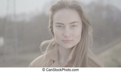 Portrait of Attractive Smiling Caucasian Ethnicity Woman in...