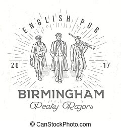 Retro peaky logo. Men in hats with blinders illustration....