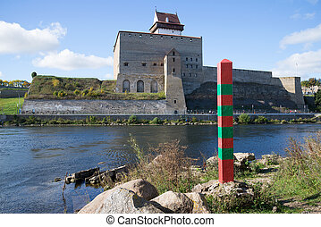 A russian border post on the background of the Narva river...