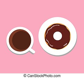 coffee donut - vector coffee and donut