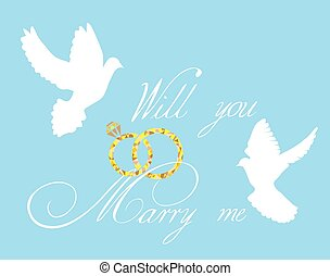 rings - Wedding card with doves and rings