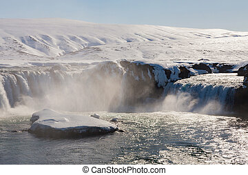 Godafoss waterfall with clear blue sky background, Iceland...