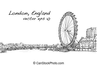 City scape drawing London eye and bridge, river,...
